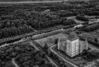 Black & white drone picture of Almere Castle