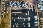 Top-down drone picture of marina near Bunschoten-Spakenburg