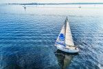 Sailing dad on lake Gooimeer, from my drone