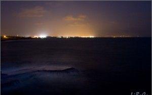 Wild sea after sunset