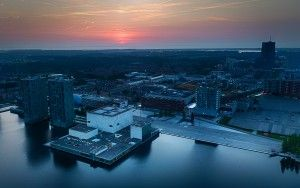 Drone sunset over Almere city centre