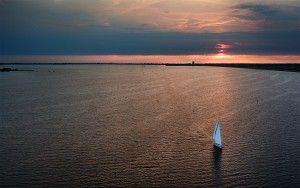 Sailing during sunset