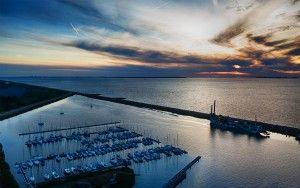 Oostvaardersdiep marina during sunset