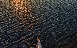Sailing home during sunset