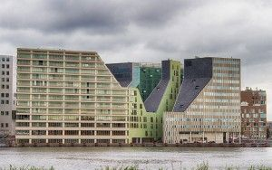 Buildings next to IJ river in Amsterdam