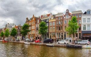 Panorama of Amsterdam canal