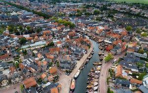Old Bunschoten-Spakenburg marina by drone