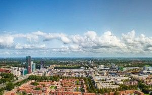 Drone panorama of Almere city centre