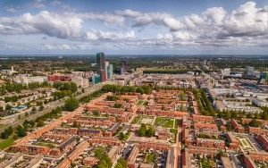 Drone view of the Stedenwijk neighbourhood in Almere