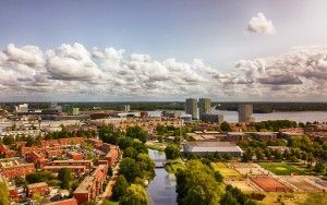 Drone view near Almere city centre