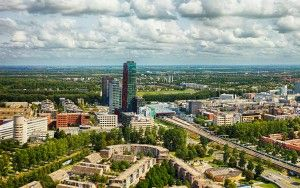 Almere city centre drone panorama