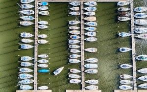 Top-down drone picture of Oostvaardersdiep marina