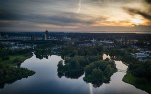 Sunset over lake Leeghwaterplas from my drone