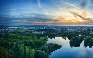 Sunset drone panorama of lake Leeghwaterplas