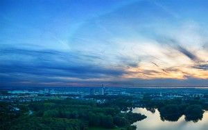 Drone panorama over lake Leeghwaterplas