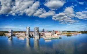 Drone panorama of Almere city centre