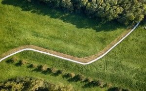 Drone picture of a road leading to...
