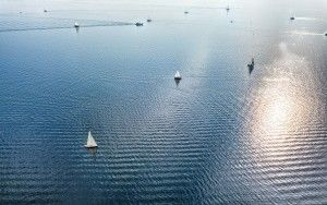 Boats on lake Gooimeer, from my drone