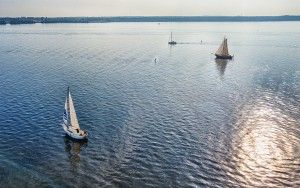 Sailing boats on lake Gooimeer from my drone