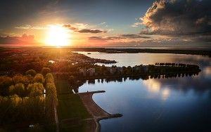 Lake Noorderplassen sunset by drone