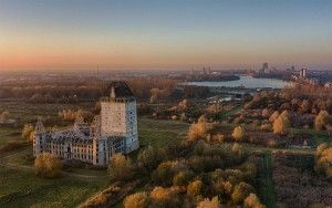 Almere castle during sunset