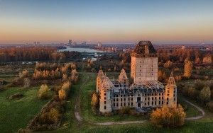 Drone sunset at Almere castle