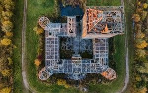 Top-down drone sunset of Almere Castle