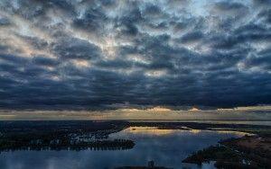 Dark clouds during sunset