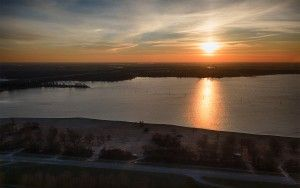 Sunset drone view over lake IJmeer