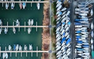 Drone top-down of Muiderzand marina