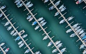 Drone top-down of the boats in Muiderzand marina