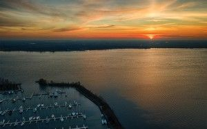Drone sunset over Muiderzand marina