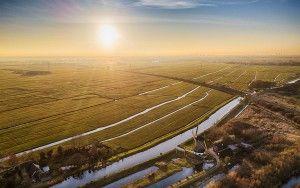 Typical Dutch landscape during sunset