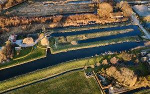 Drone picture of Windmilll near Muiderberg