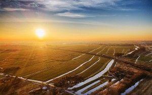 Drone sunset near Weesp and Muiderberg