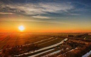 Typical Dutch sunset near Weesp
