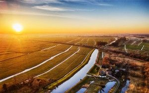 Sunset drone picture of fields near Weesp