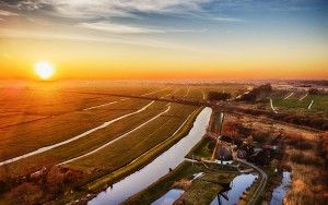Drone sunset picture of Meermolen de Onrust