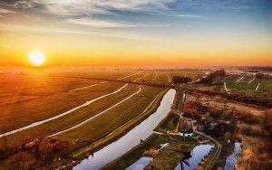 Drone sunset picture of Meermolen de Onrust
