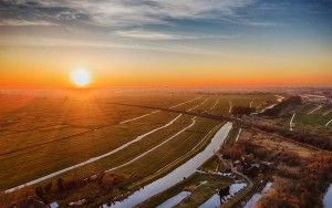 Drone sunset picture of windmill Meermolen de Onrust