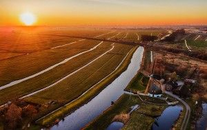 Sunset drone picture of windmill near Weesp
