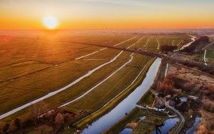 Sunset drone picture of Meemolen de Onrust near Weesp