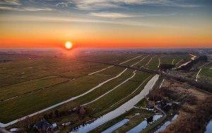 Drone sunset over windmill Meermolen de Onrust