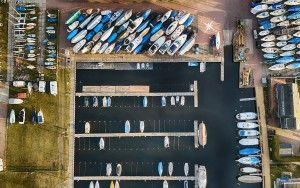 Top-down drone picture of marina near Bunschoten-Spakenburg