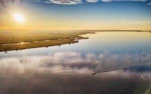 Ripples in the water of lake Eemmeer