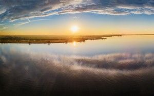 Drone panorama of lake Eemmeer