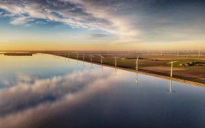 Drone picture of the windmills on Eemmeerdijk