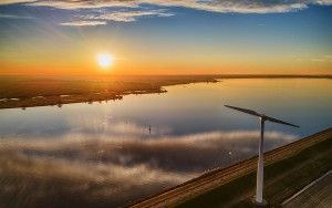 Sunset drone picture of windmill on Eemmeerdijk