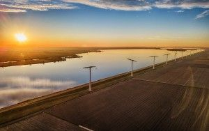 Windmills, fields and lake Eemmeer from my drone during sunset