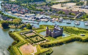 Muiderslot castle by drone